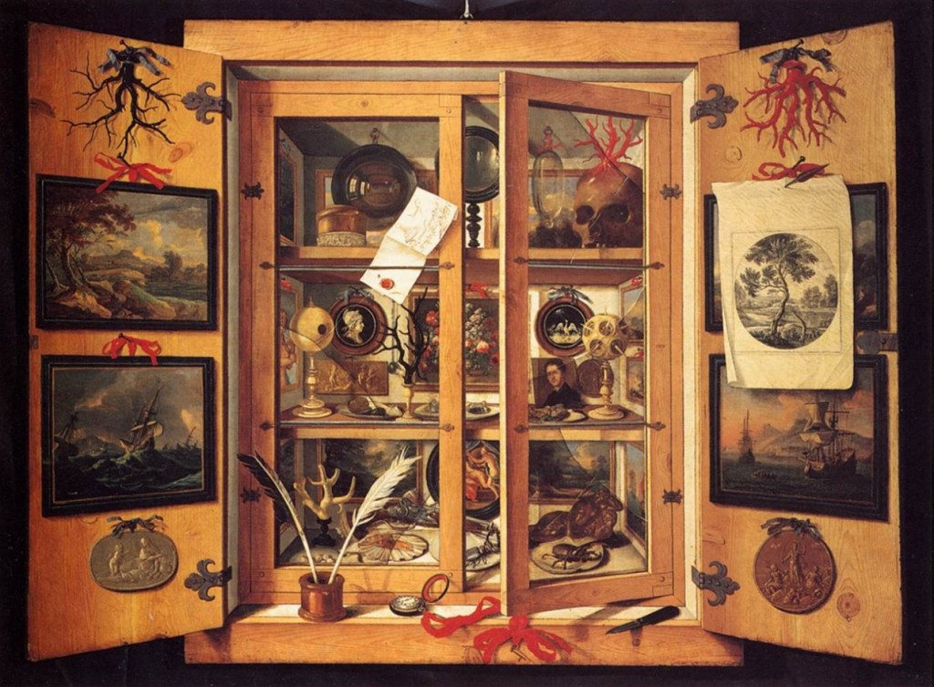 "Text Box: Figure 2: Domenico Remps, ""Cabinet of Curiosities"", (Opificio delle Pietre Dure, Florence: 1690's)."